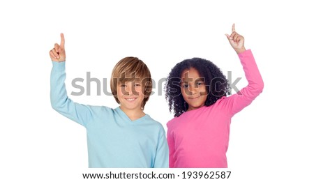 African girl and Caucasian boy asking to speak isolated on a white background - stock photo