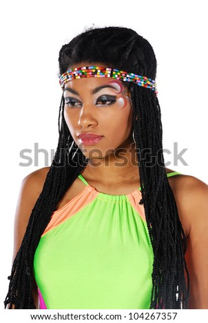 African girl in a bright dress - stock photo
