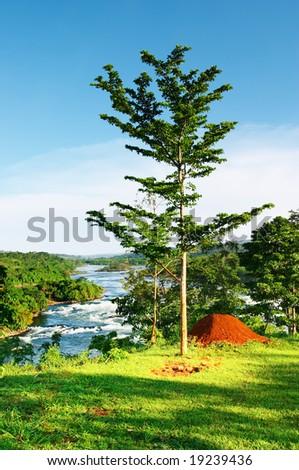 African landscape, Nile River, Uganda - stock photo
