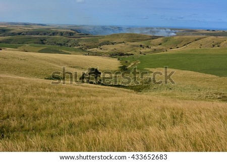 African landscape rolling hills of the Transkei - stock photo