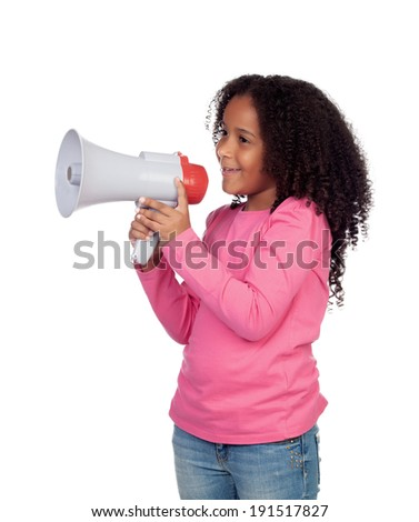 African little girl with a megaphone isolated on a white background - stock photo