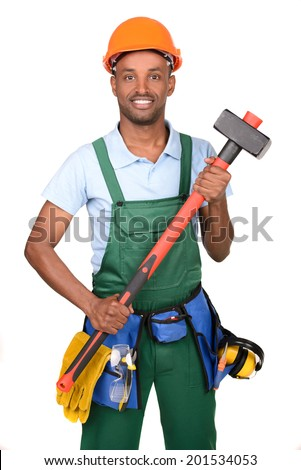 African male worker carrying toolbox over white background - stock photo