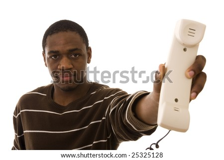 African man giving you a phone receiver (isolated on white) - stock photo