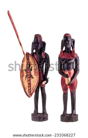 african masai warrior statuette isolated over a white background - stock photo