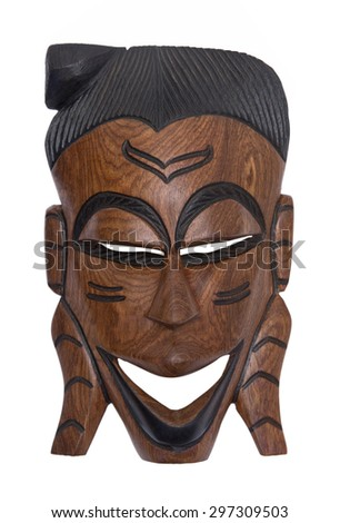 African mask isolated on white - stock photo