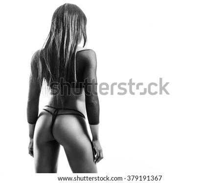 African model back portrait black and white - stock photo
