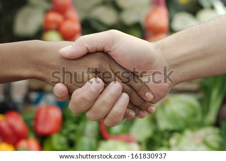 African or black American woman handshake traditional market deal in township - stock photo