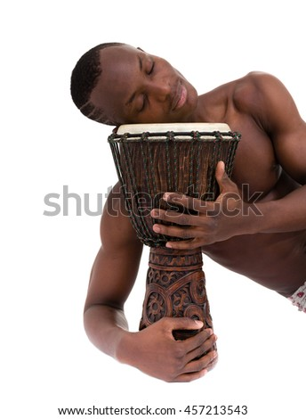 african person with djembe isolated on white background, traditional percussion instrument - stock photo