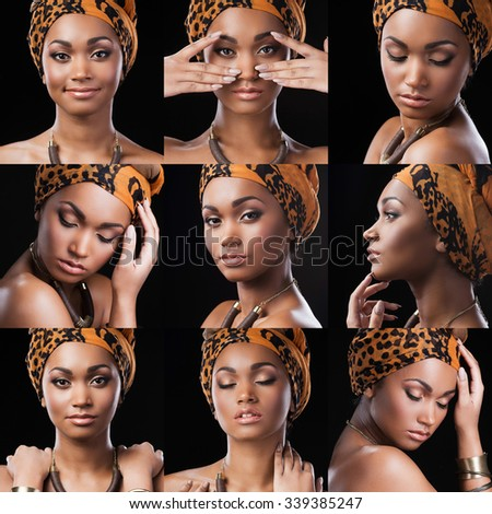 African queen. Collage of beautiful young African woman in ethnic style expressing different emotions while standing against black background - stock photo