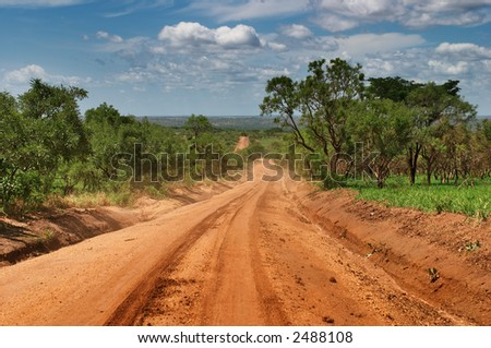 African road - stock photo