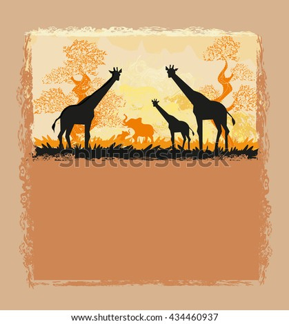 African savannah card - stock photo