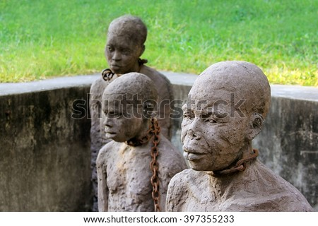 African Slave trade statue - stock photo
