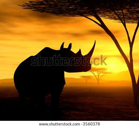 African Spirit - The Rhino - stock photo