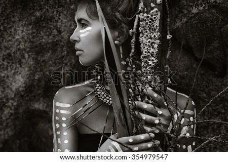 African style woman - stock photo