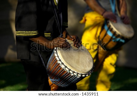 African traditional drummer. - stock photo