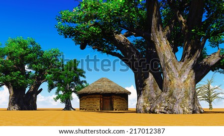 African village With baobabs and hut - stock photo