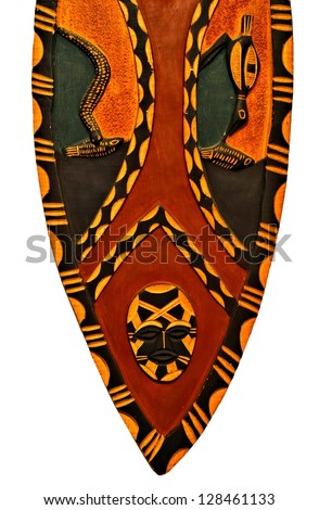 African war shield / Wooden shield / Carved wooden shield from Africa - stock photo