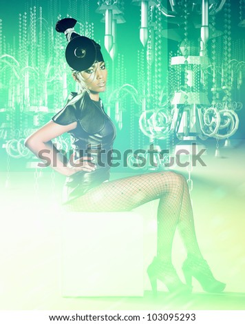 African women in dress siting with cold hologram chandelier - stock photo