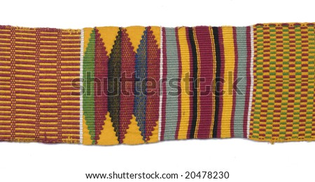 African woven cloth on white background - stock photo
