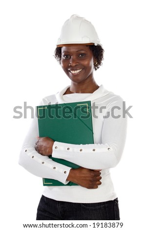 African young engineer over a white background - stock photo