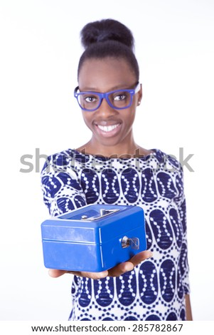 African young girl with a safe - stock photo