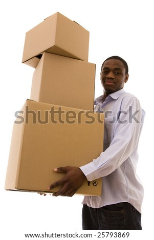 African young man holding a stack of packages - stock photo
