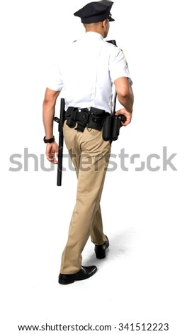 African young man with short black hair in uniform holding handgun - Isolated - stock photo