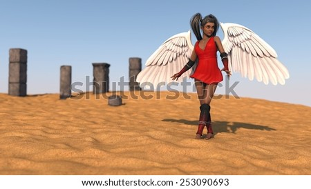 african young woman as angel wearing red dress posing in desert  - stock photo