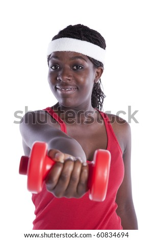 african young woman exercising her muscle with dumbbell (isolated on white) - stock photo
