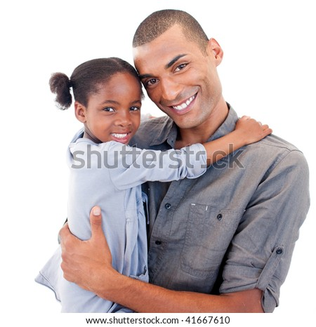 Afro-American father holding her little daughter agaisnt white background - stock photo