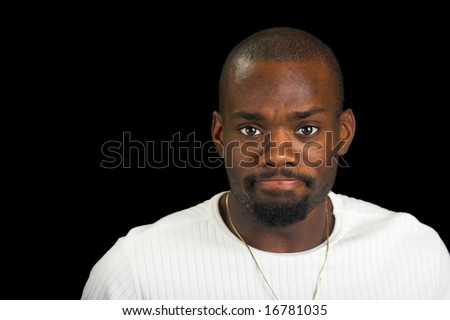 afro-American man with determined look. - stock photo