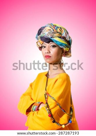 Afro-american woman against the gradient - stock photo
