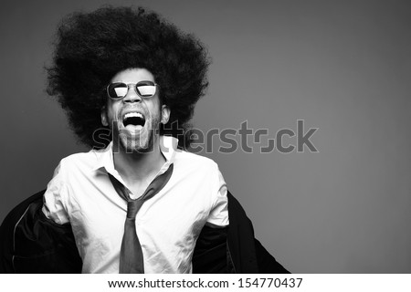 Afro man Black and White edition - stock photo