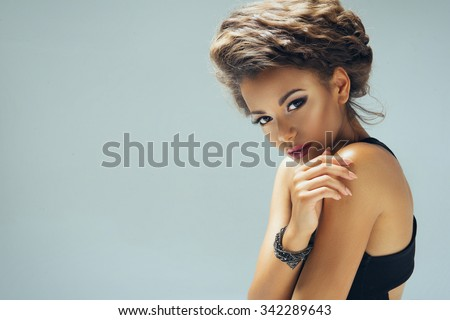 Afro sexy woman looking at camera.  - stock photo