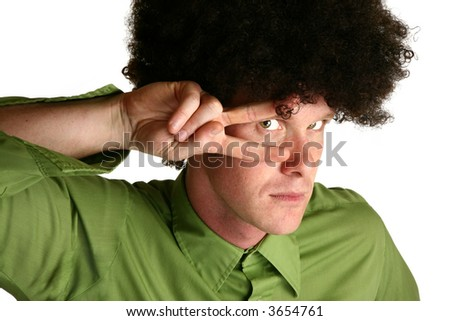Afro wig on thirty something white male - stock photo