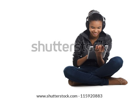Afro woman listening music. - stock photo