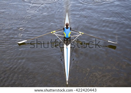 after a rowing race in Italy - stock photo