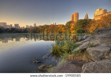 After a storm in Central Park New York City in Autumn - stock photo