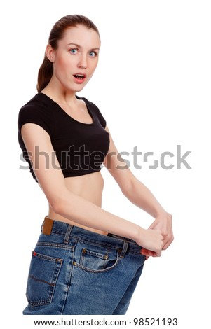 After loosing weight - stock photo