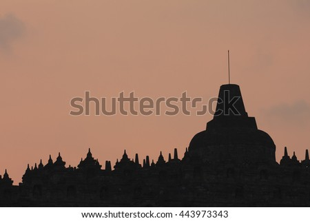 After sunset at Chandi Borobudur, Mahayana Buddhist Temple in Magelang, Central Java, Indonesia  - stock photo