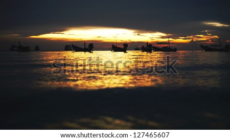 After Sunset at Hat Sai ree, Sairee Beach, Koh Tao, Suratthani, Thailand. - stock photo