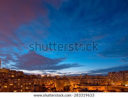 After sunset time. Twilight panoramic cityscape. Aerial view. Typical modern residential area. Kiev. Ukraine. - stock photo