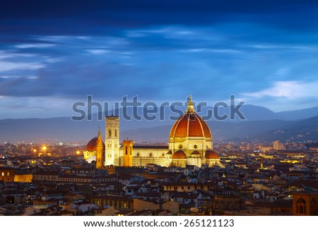 After sunset view of Cathedral  Santa Maria del Fiore. Florence, Italy - stock photo