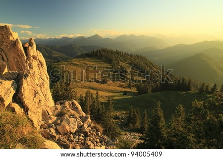 afternoon at the mountains - stock photo