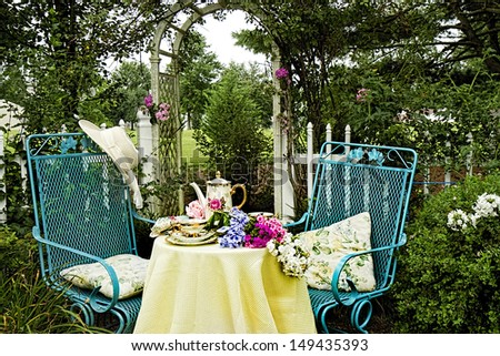 Afternoon Tea in Garden - stock photo