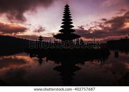 Aftert sunset at Pura Ulun Danu Bratan temple on Bali, Indonesia - stock photo