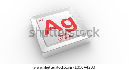 Ag symbol 47 material for Silver chemical element of the periodic table - stock photo