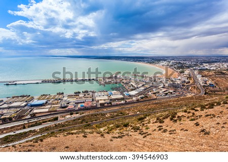 Agadir aerial panoramic view from the Agadir Kasbah (Agadir Fortress) in Morocco - stock photo