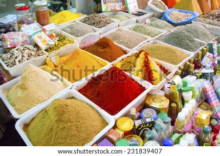 AGADIR, MOROCCO, FEBRUARY 27, 2014. Spices for sale in Souk El Had, the biggest bazar in Agadir, Morocco, on February 27th, 2014. - stock photo