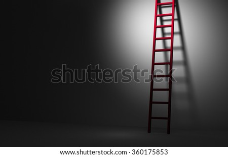 Against a dark background, a spotlight brightly illuminates the top of red ladder leaning against a wall and leading up. 